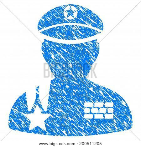 Grunge Army General icon with grunge design and scratched texture. Unclean vector blue pictogram for rubber seal stamp imitations and watermarks. Draft emblem symbol.