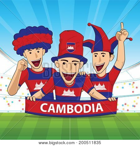 Cambodia Flag. Cheer football support Vector illustration.