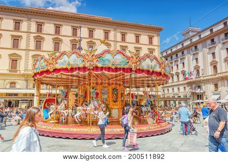 Florence, Italy- May 13, 2017: Square Of Republic (piazza Della Repubblica).piazza Della Repubblica