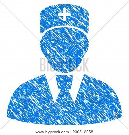 Grunge Head Physician icon with grunge design and unclean texture. Unclean vector blue pictogram for rubber seal stamp imitations and watermarks. Draft emblem symbol.