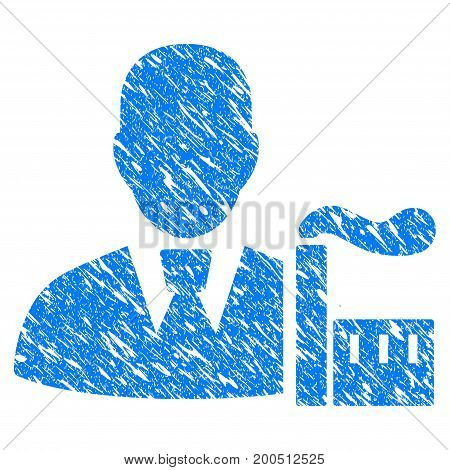 Grunge Industry Capitalist icon with grunge design and scratched texture. Unclean vector blue pictogram for rubber seal stamp imitations and watermarks. Draft sticker symbol.
