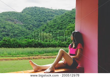 Depress And Hopeless Girl Sitting Outdoor (abuse Concept)