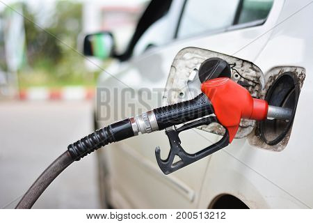 Filling Car With Gasoline At Petrol Station
