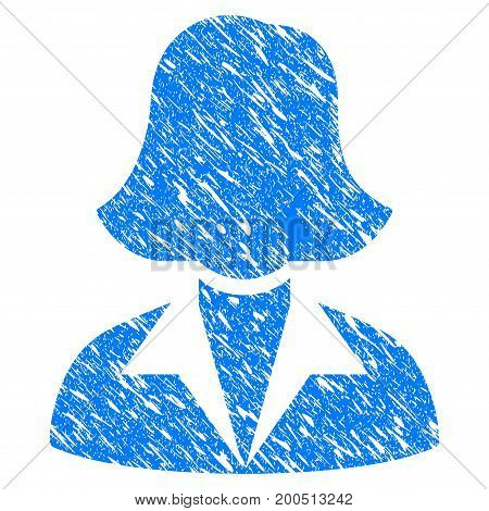 Grunge Office Lady icon with grunge design and unclean texture. Unclean vector blue pictogram for rubber seal stamp imitations and watermarks. Draft emblem symbol.