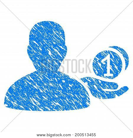 Grunge Panhandler icon with grunge design and scratched texture. Unclean vector blue pictogram for rubber seal stamp imitations and watermarks. Draft sign symbol.