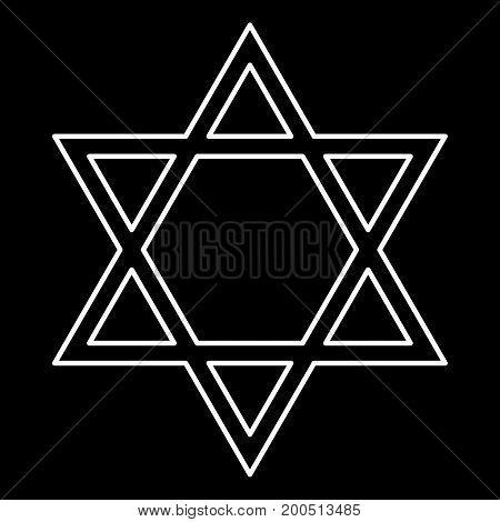 Jewish Star Of David White Color Icon .