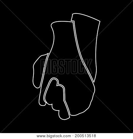 Hand holding another hand it is white color icon .