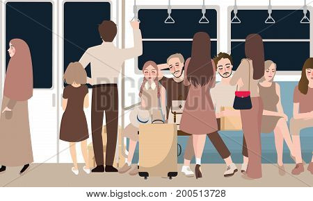 inside busy train full of passenger commuter standing and sitting people using public transportation in rush hour male and female vector cartoon illustration vector