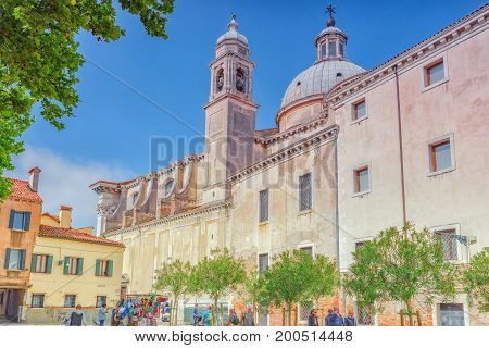 Venice, Italy - May 12, 2017 : View Of The Most Beautiful City In The Word -  Venice, Facade Of Sant