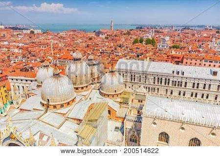 Panoramic View Of Venice From The Campanile Tower Of St. Mark's Cathedral-  The Cathedral Of Saint M
