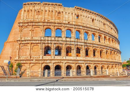 Beautiful Landscape Of The Colosseum In Rome- One Of Wonders Of The World  In The Morning Time.