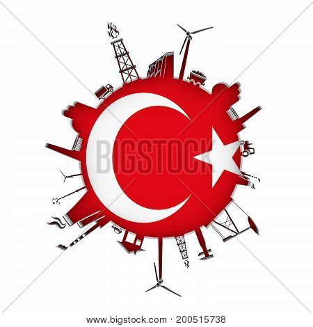 Circle with industry relative silhouettes. Objects located around the circle. Industrial design background. Flag of Turkey in the center. 3D rendering.
