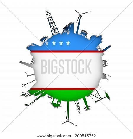 Circle with industry relative silhouettes. Objects located around the circle. Industrial design background. Flag of Uzbekistan in the center. 3D rendering.