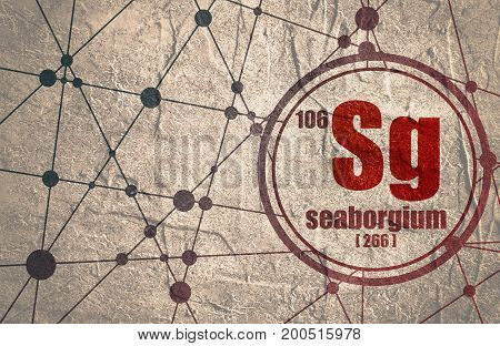 Seaborgium chemical element. Sign with atomic number and atomic weight. Chemical element of periodic table. Molecule And Communication Background. Connected lines with dots. Distress grunge texture