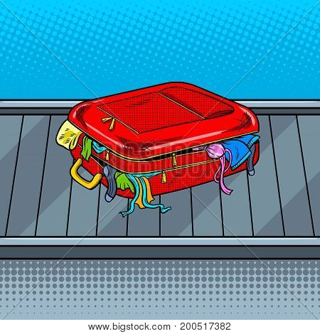 Broken bag on baggage claim tape pop art style vector illustration. Comic book style imitation