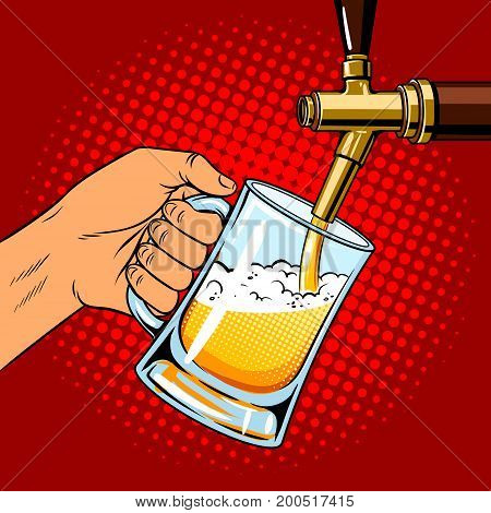 Man pours beer into glass from beer tap pop art hand drawn vector illustration.