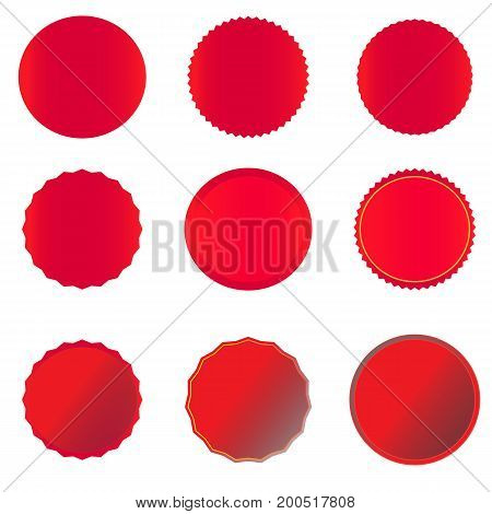 red banner on white background. red price tags labels stickers and ribbons.