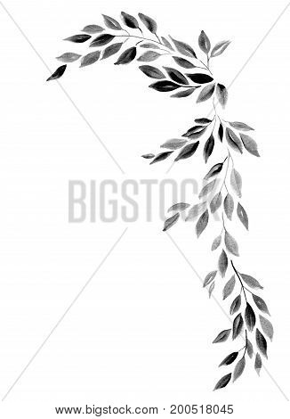 Abstract decorative branch with leaves isolated on white background, hand-painted watercolor illustration and paper texture