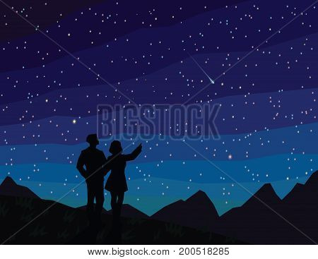 Make a wish. Silhouette of couple, watching falling star. The starry night sky and mountain landscape. Meteor. Asteroid. Vector illustration in flat faceted style. Scene for your design.