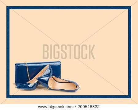 Beautiful blue shoes with clutches on beige background