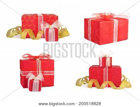 Holiday Set Gift Boxes Decorated With Bows And Ribbons