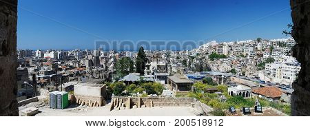 Aerial panorama view to Tripoli city in Lebanon