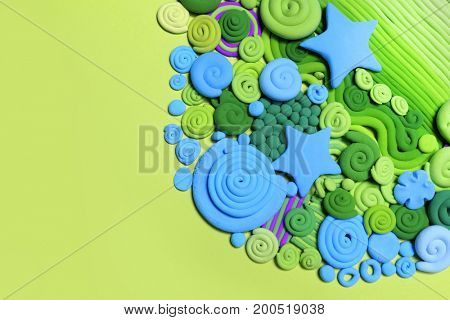 Abstraction of the seabed. Ocean floor. Colored decorative ornament, made in modeling techniques from plasticine