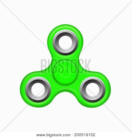Hand fidget spinner green toy - stress and anxiety relief. Green colorful spinner on a white background. Modern children's toy - green spinner.