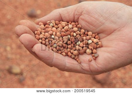 a close-up photo of bauxite in a mans hand
