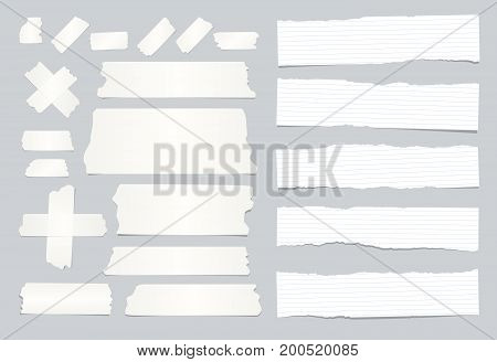 White ripped ruled, lined note, copybook, notebook paper strips, sticky, adhesive tape stuck on grey background