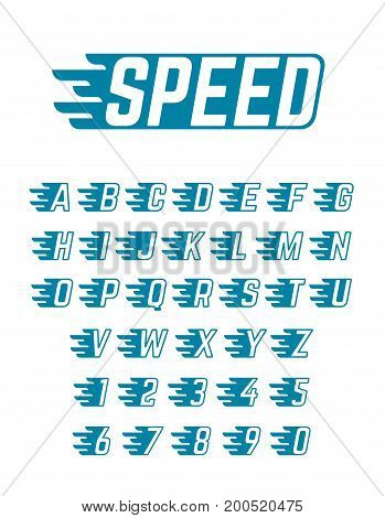 Speed flying vector alphabet. Fast symbols typeface for racing car team, retro posters and sportswear. Sport fast alphabet, speed alphabetical and numbers illustration