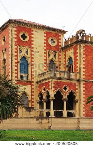 Villa in 14th century in Venetian style (Neo-Gothic). Reggio di Calabria in southern Italy.