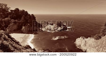 Seascape in Big Sur in California.