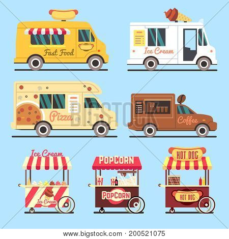 Street fast food delivery trucks flat set. Food street fast truck, vector illustration