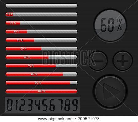 Installation, loading progress bar. Black interface with red bar. Vector 3d illustration