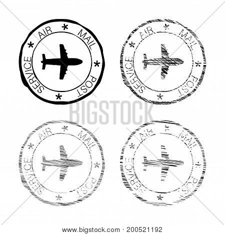 Air mail post service black faded round stamp. Vector illustration