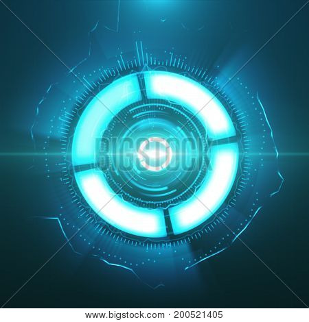 Sci-fi Futuristic Crosshair. Hud User Interface. Technology Background. Spaceship Hightech Target Sc