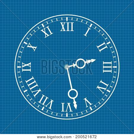 Clock face with roman numerals. White drawing on blueprint background. Vector illustration