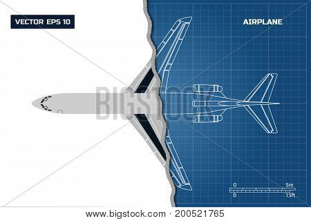 Outline drawing of plane on a blue background. Industrial blueprint of airplane. Top view. Vector illustration