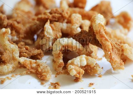 Pork Snack, Pork Rind, Pork Scratching Or Pork Crackling