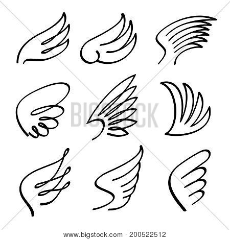 Cartoon angel wings vector set. Sketch doodle winged abstract emblems isolated on white background. Wing bird cartoon black illustration