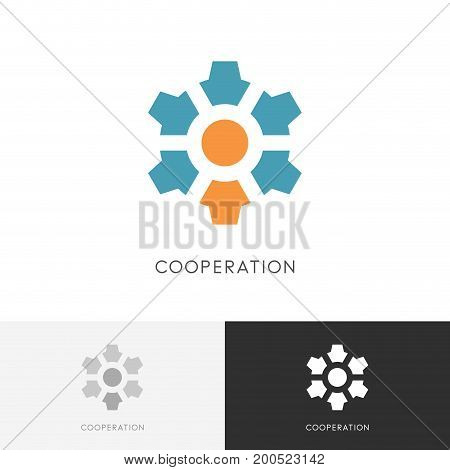 Cooperation gear wheel logo - manager or administrator with colleagues and pinion symbol. Business, teamwork and leadership vector icon.