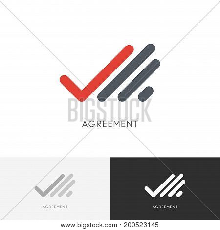 Agreement checkmark logo - hand with check mark or tick symbol. Business, contract and deal vector icon.