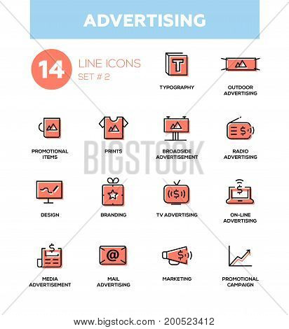 Advertising - modern vector icons, pictograms set. Typography, outdoor, boadside, media commercial, promotional items, prints, branding, marketing, campaign. Collection of infographics objects