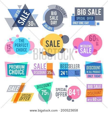 Promotion badges, best offer and price stickers and discount labels vector set. Promotion labels best seller and badge for business illustration