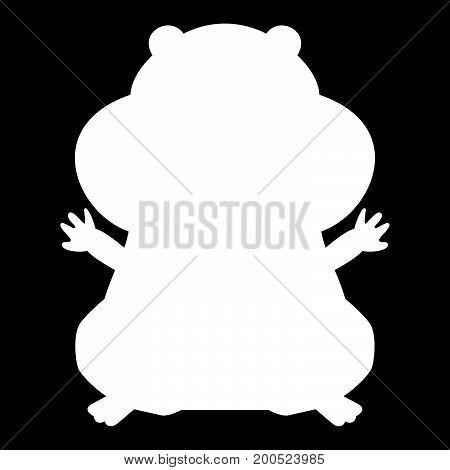 Hamster Silhouette White Color Icon .