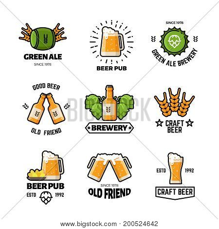 Beer pub vector logos and emblems. Brewery and brewing business vintage labels. Brewery beer emblem, pub and bar label logo illustration