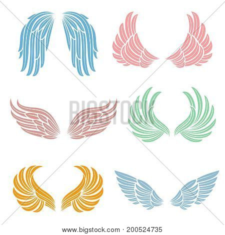 Elegant angel wings with long feather. Angelic symbols isolated vector set. Color angel wing of collection illustration