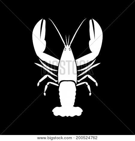 Craw Fish White Color Icon .