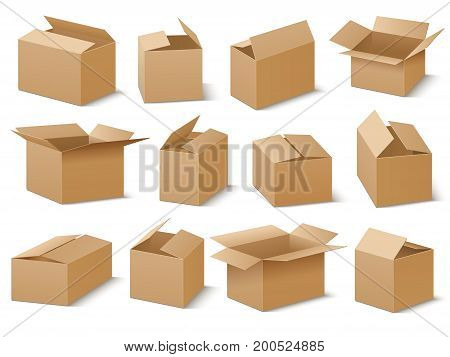 Open and closed cardboard boxes vector set. Brown box collection, cardboard container and crate illustration